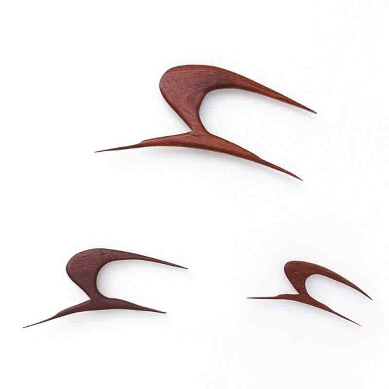 Teak Wanddekoration Möwengruppe im Flug
