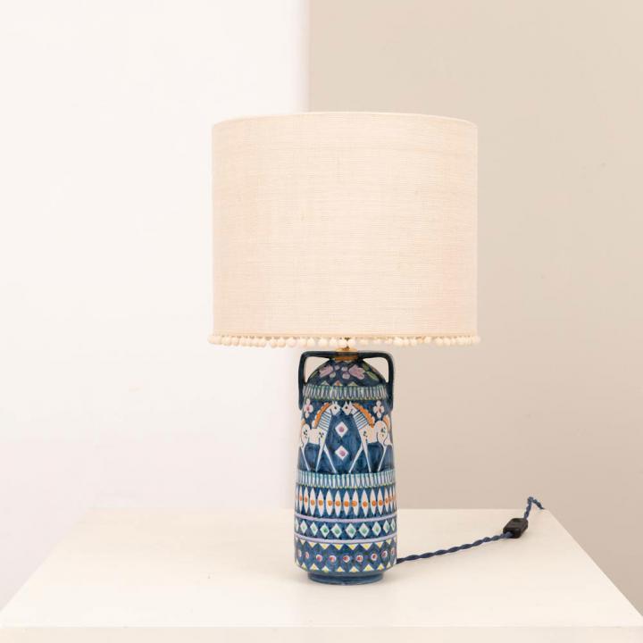 1960er Jahre Vietri Ceramica Pinto Tischlampe