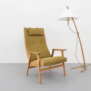 60er Jahre Sessel, Eichenholz, mid century